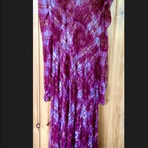 Free People Gingham and Lace Maxi.  NWT L